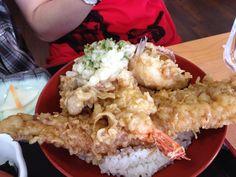 A tempura rice bowl of deep fried sea eel, prawn, fish and sweet potato. #Japan