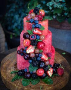 Summertime Watermelon Cake The Lemon Apron High Fiber Vegetables, High Fiber Fruits, Vegetables List, Veggies, Fruit Recipes, Cake Recipes, Dessert Recipes, Nutella Recipes, Juice Recipes