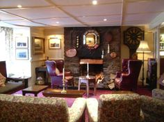 The lounge at Two Bridges Inn, Dartmoor National Park.  What a treat it was to snuggle into these leather comfy chairs and nurture a pint, after a superb meal.