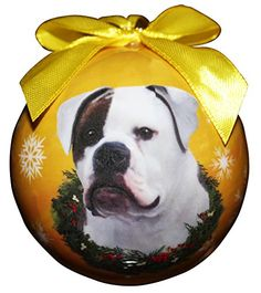 American Bulldog Christmas Ornament Shatter Proof Ball Easy To Personalize A Perfect Gift For American Bulldog Lovers * You can find out more details at the link of the image.