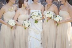 BEIGE bridesmaids dresses - Inspired by This Rustic Saddlerock Ranch Wedding - via inspiredbyths