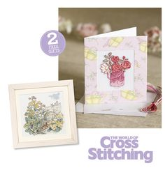 Free for you! Cross stitch this oh-so-pretty roses card with our April Rose Illustration stitch kit, plus a luxury chart from The Country Diary of an Edwardian Lady – TWO FAB FREE GIFTS with issue 217 of The World of Cross Stitching magazine, out now!