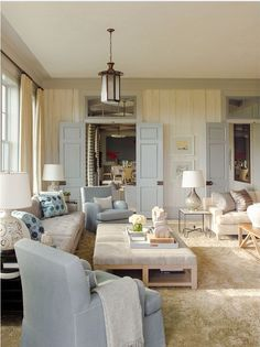 Gambrel Love the paint and trim color combo Coastal Living Rooms, Living Room Decor, Living Spaces, Cosy Interior, Interior Design, Ocean House, Beach House, Studio Living, Gambrel