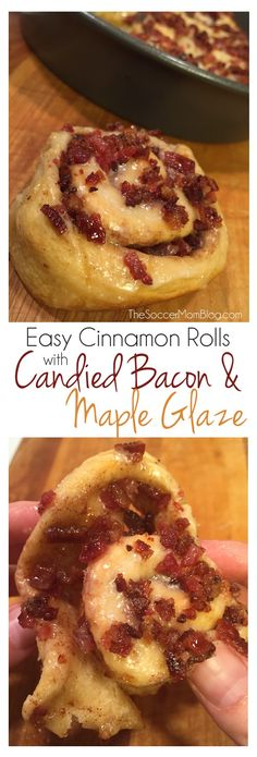Pillsbury Cinnamon Rolls with Candied Bacon ...need I say more? This dessert is almost too delicious for words, and it's EASY! #warmtraditions (sponsored by General Mills)