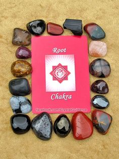 ROOT CHAKRA CRYSTALS (listed clockwise starting with the upper right hand corner): Bloodstone, Red Calcite, Chiastolite, Garnet, Hematite, Mookaite Jasper, Red Jasper, Jet, Lodestone (Magnetite), Black Obsidian, Snowflake Obsidian, Black Onyx, Petrified Wood, Ruby, Smoky Quartz, Shungite, Red Tiger's Eye, Black Tourmaline. This is by no means all of the Root chakra crystals, but these are among some of my favorites.