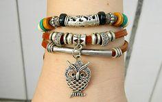 Metal  Owl Adjustable braceletantique silver bracelet by goodlucky, $7.29