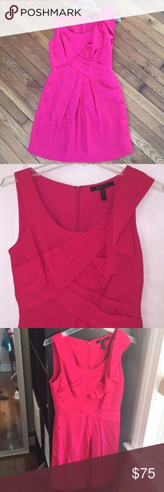 BCBG pink dress Cute hot pink occasion dress with gathering and shoulder ruffle detail. 100% silk. Size 4. BCBG Dresses