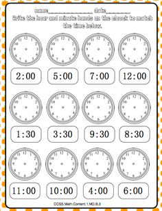 Fall Math Journal Aligned to the Common Core : Math Journal page Telling time! Math Journal Labels, Math Journal Prompts, 3rd Grade Math Worksheets, 1st Grade Math, Grade 2, Math Humor, Math Memes, Funny Humor, Interactive Math Journals