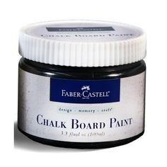 Faber-Castell Chalkboard Paint. Chalkboard Paint is a dynamic medium containing actual chalkboard properties when applied, great for contrast in mixed media projects. Use to create a dark surface for use with pastel pencils, metallic pens, or Stamper's Big White Pen.
