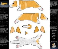 Cut and sew plush Pembroke Welsh Corgi puppy ©2011 fabric by rusticcorgi on Spoonflower - custom fabric