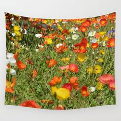 Poppy field tapestry summer tapestry flower wall by NewCreatioNZ