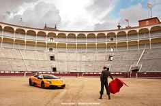 """The owner of this Lamborghini wanted me too come shoot his car in Madrid, Spain, in March 2011. We got loads of shot at several amazing locations.  The 'Plaza de Toros Las Ventas' (Madrid's world famous bullring) definitely was one of the most impressive locations we got to shoot at.  The Lamborghini Murciélago was named for a fighting bull that survived 28 sword strokes in an 1879 fight against Rafael """"El Lagartijo"""" Molina Sanchez, at the Coso de los califas bullring in Córdoba, Spain…"""