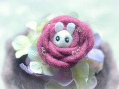 Handmade felt bunny in rose brooch, needle felted wool rabbit in flower pin, whimsical animal brooch, lolita accessories, gift under 20