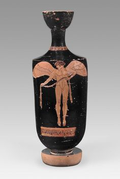 Oil flask (lekythos) with Eros carrying a victor's ribbon Greek Late Archaic Period about B. the Brygos Painter Ancient Greek Sculpture, Ancient Greek Art, Egyptian Art, Ancient Greece, Natural Form Art, Greek Paintings, Greek Pantheon, Ancient Artefacts, Greek Pottery