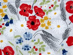 Eastern European linen tablecloth primary colors floral