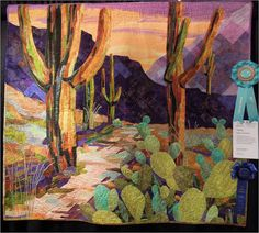 """Saguaro Sentinels"" by Patsy Kittredge, 2013 Arizona Quilters Guild show, best depiction of theme"