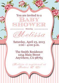 Printable Shabby Chic Baby Shower Invite, Shabby Chic Personalized Invitation
