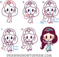 Learn How to Draw Cute Baby Kawaii Chibi Jasmine from Disney's Aladdin in Simple…