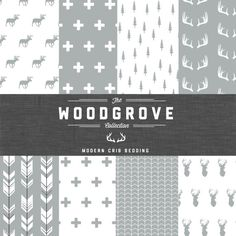 The Woodgrove Collection Crib Bedding Set  Modern by CozybyJess, $217.00 Grey and White Woodland Crib Bedding!