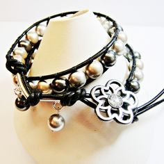 Designed by Pat Cruse of Shoogly Beads. Leather Wrap Swarovski Pearl and Sterling Silver Bracelet £25.00.