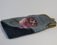 Pencil case with a cute owl. Denim kiss lock pencil case. Glasses case. Denim bag. Hand painted.