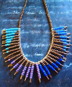 Unique Tribal Pattern Safety Pin Statement Necklace by Mosaiq
