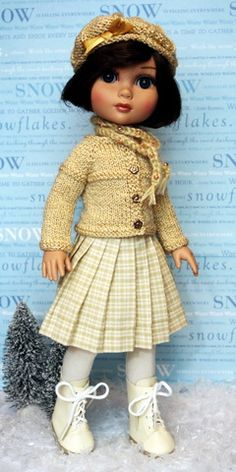 """**Winter's Gold**..5 PC Hand knit outfit for 14"""" Tonner Red Velvet Patsy Ann Dolls. One in stock now on ETSY!"""