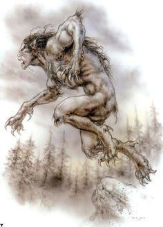 --Werewolf by Luis Royo Fantasy Creatures, Mythical Creatures, Apocalypse, Dark Paintings, Werewolf Art, Howl At The Moon, Luis Royo, Vampires And Werewolves, World Of Darkness