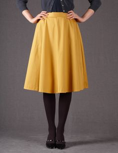 Boden's 50s Grace Skirt made with cotton sateen in gold