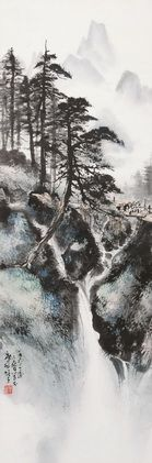 LI XIONGCAI (1910~2001)WATERFALL Ink and color on paper, hanging scroll 104×34cm 黎雄才(1910~2001) 松嶺飛瀑 紙本 立軸 1963年作 104×34cm 款識:一九六三年之春寫于廣州雄才。 鈐印: 雄才之印