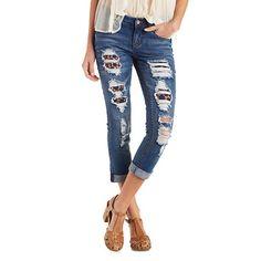 Dollhouse Medium Wash Rolled Skinny Jeans