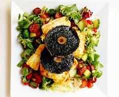 warm chorizo + halloumi salad