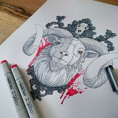 Goat (Tattoodesign) by stilbock on @DeviantArt