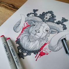 Goat (Tattoodesign) by stilbock on @DeviantArt