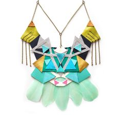 Geometric Leather Mint Feather Statement Necklace, Turquoise and Green Triangle Jewelry - Boo and Boo Factory - Handmade Leather Jewelry