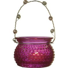 Fuchsia Pink Hanging Candle Holder and Vase (hobnail design).  Glass dimensions: 3 inches x 2.25 inches high. Playfully painted vintage vessels. Glass with beaded wire handles. Can be hung or placed on flat surface. Perfect for weddings! For use with tea light candles, battery lights or flowers.