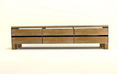 Design Metallmoebel TV-Sideboard Multizweck-Aufbewahrung aus Stahl Holz Eiche Stahlzart