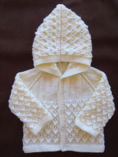 Hand Knitted sweater hoody for boy or girl 6-9 months old.