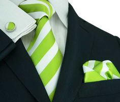 Green/White Stripe Silk Necktie Set JPM335 – Toramon Necktie Company