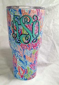 1146fa13231 Lilly Pulitzer Monogram 30 oz Stainless Steel Tumbler, Lilly tumbler, Lilly  Print Tumbler, Water bottle, personalized Lilly custom cup