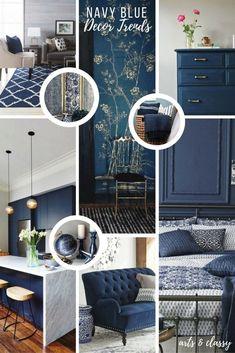 Home Decoration Ideas: Navy Blue Interior Decor Trends + Inspiration Home Decor Colors, Blue Home Decor, Home Decor Trends, Colorful Decor, Home Decor Inspiration, Diy Home Decor, Decor Ideas, Interior Design Tips, Home Interior