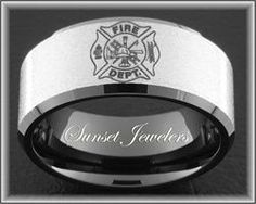 Firefighter Black Tungsten Fireman Maltese Cross Wedding Ring With Free Inside Engraving Perfect Christmas Gift