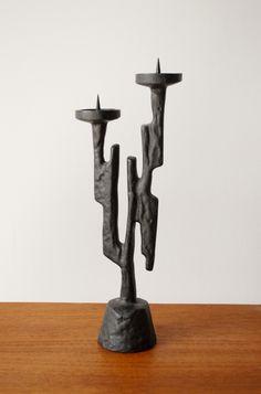 Anonymous; Enameled Cast Iron Candle Holder, 1950s.
