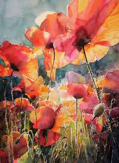 Oil Painting Flowers Art Floral Paintings Watercolor Large Oil Paintings On Canvas For Sale Large Wall Painting Jasmine Flower Painting Arte Floral, Art And Illustration, Watercolor Flowers, Watercolor Paintings, Watercolours, Poppies Art, Drawing Flowers, Floral Paintings, Red Poppies