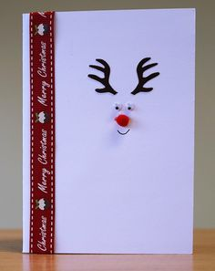 Christmas Card - Rudolph.  To purchase my cards please visit CraftyCardStudio on Etsy.com.
