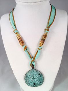 Large Sand Dollar Verdegris Patina on Light Turquoise Silk Ribbon with Fiber Beads by DressItUpbyDenise on Etsy