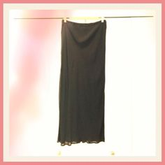 "Beautiful layered black skirt Gorgeous flattering and slimming black lined skirt with a sheer black slightly longer outer layer.  Pairs absolutely beautifully with everything. Dress up or down. Purchased at Principles in the UK.  It is UK size 14 or US 12.  Waist is elastic so a good  fit for anyone in that range.  It is approx 38"" at its longest outer layer on me it hits around lower calf area. Mint condition except for a slight pull/run on the lower outer area. It is not noticeable at all…"