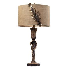 Grecian-style table lamp with acanthus leaf detail and a textured shade.   Product: Table lampConstruction Material: ...