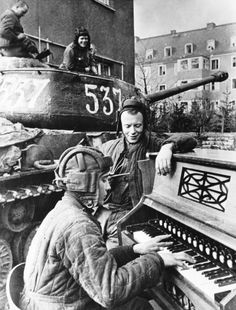 Red Army soldiers take a break on the 1st Ukranian Front, 1945.  Anatoly Yegorov