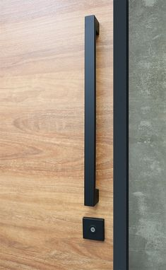 Entry pull handle set in matte black finish. Complete with everything needed for the modern door and pivot doors.Ideal for when you want the handle to sit above the lock. - April 20 2019 at Timber Front Door, Black Front Doors, Modern Front Door, Front Door Entrance, House Front Door, Front Door Design, Modern Door Design, Front Door Locks, Modern Wood Doors